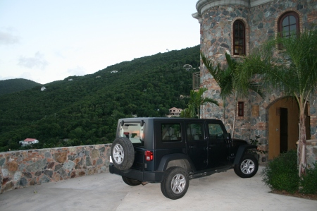 Jeep Jk Wrangler 4-Door overlooking Cinammon Bay, St. John USVI
