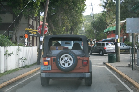 "Jeep Wrangler in the ""traffic"" of Cruz Bay, St. John USVI"